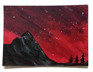 BRAND NEW Original Artwork Acrylic Painting ACEO ATC artist card Fiery Sky