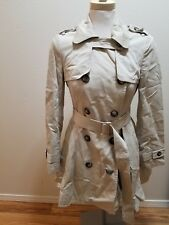 NEW Topshop Tan Nude Skater Trench Coat Jacket Military Ruffled EU 38 UK 10 US 6