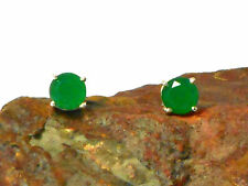 EMERALD   Sterling  Silver   925  Gemstone  EAR  STUDS  -  7 mm  -  Gift Boxed