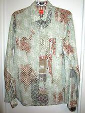 Boss Hugo Boss M Paisley Shirt Patchwork Print Flip Contrast Cuff --Superb!