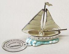 G 4531 Silber Segelboot Sailing Setzkasten Swarovski Glas Kristall Crystal 6 cm