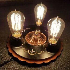 Vintage Flush Mount Arts Crafts Nouveau Cast Iron 3 bulb Ceiling Light Fixture