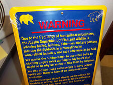 WARNING Metal sign -  Funny Alaska bear warning sign - great collectible item