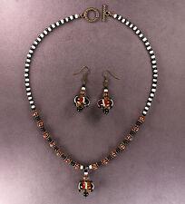 Bottle Gourd Necklace Earrings Calabash Hulu Lampwork Bronze Thanksgiving Autumn