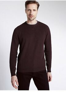 M&S Rrp £29.50 Pure Cotton Textured Jumper Burgundy Large