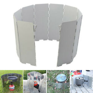 10pc Plates Camping Cooker Gas Stove Wind Shield Foldable Outdoor Top Quality UK