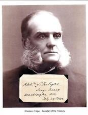 Charles J Folger Secretary Treasury Autograph 1882 Massachusetts Chief Judge
