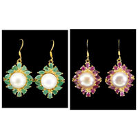 Unheated Marquise Emerald Ruby 6x3mm Pearl 11mm 925 Sterling Silver Earrings