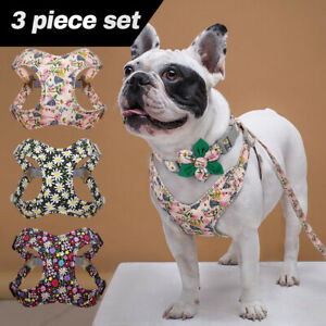 Floral Dog Collar Harness and Lead Set Soft Padded Pet Puppy Dog Walking Harness