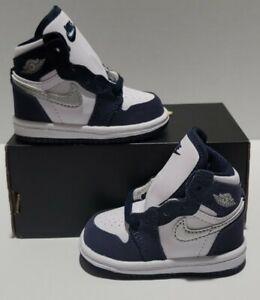 Nike Air Jordan 1 Retro High OG TD CO.JP Navy Toddler Sz 3c NEW AQ2665-141 NOLID