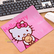 New Design Cute Hello Kitty & Teddy Bear Laptop Computer Mouse Pad Mat Pink