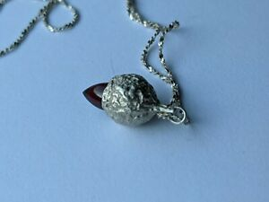 Sterling Silver necklace with red stone acorn