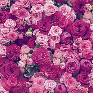 ROSES FLORAL WALLPAPER RED & PINK NEW FLOWERS LEAVES MODERN WALLPAPER