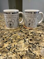 Disney Parks Mickey & Minnie Mouse Character Construction Mug Set Collectible