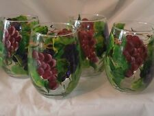 HAND PAINTED RED PURPLE, GREEN GRAPES   SET/4 STEMLESS WINEUSA FLORAL GOBLET