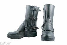 Swiss Army Motorcycle Vintage Leather Boot Gaiters Steampunk BLACK