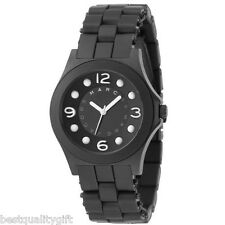 NEW-MARC JACOBS BLACK PELLY SILICON BAND,WHITE NUMBERS WATCH-MBM2507