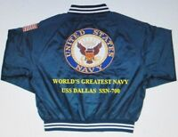 USS DALLAS  SSN-700  NAVY ANCHOR EMBROIDERED 2-SIDED SATIN JACKET