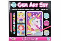 Gem Art Set of 3 3D Diamond Painting Childrens Kids Crafting Kit Set Craft