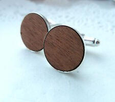 Luxe Plain Mahogany Wood  Wooden Cufflinks Silver Plated