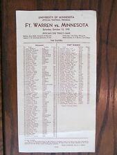 1945 Vintage Minnesota Gophers vs Fort Warren Broncos Colorado Football Program