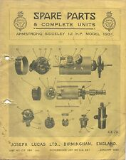 Armstrong Siddeley 12 HP 1931 Lucas CAV Rotax illustrated Spare Parts List