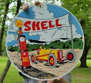 OLD VINTAGE DATED 1921 SHELL GASOLINE MOTOR OIL PORCELAIN GAS STATION PUMP SIGN