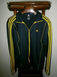 ADIDAS XL Climalite Full Zip Navy/Gold 3 Stripe Athletic/Track Jacket -FAST SHIP