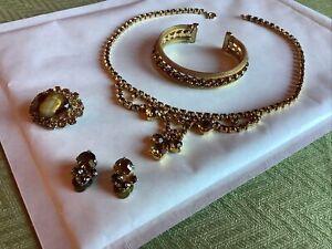 Vintage Amber Rhinestone Swag Necklace Bracelet Brooch And Earrings