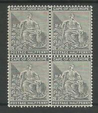 CAPE OF GOOD HOPE SG48 THE 1884-90 QV HALFPENNY GREY BLACK BLOCK OF 4 MINT C.£48
