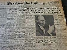 1952 OCTOBER 25 NEW YORK TIMES - EISENHOWER WOULD GO TO KOREA - NT 5789
