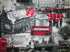 REGENT STREET LONDON FAMOUS SITES UK BUS BOBBIES COTTON FABRIC BTHY