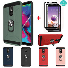 For LG Stylo 4/4 Plus/5/5 Plus Hybrid Ring Armor TPU Case Cover+Screen Protector