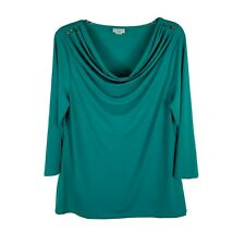 Jaclyn Smith Women's Shirt Blouse ~ Sz L ~ Green ~ 3/4 Sleeve ~ Stretchy