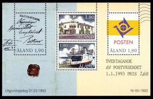 Aland 1993 Postal Autonomy, Ferry, Post Office etc. Minisheet, UNM / MNH