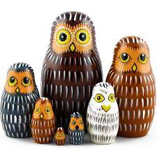 Eagle Owl Matryoshka Russian Nesting Doll Babushka Wooden Puppe Set 7 Pcs