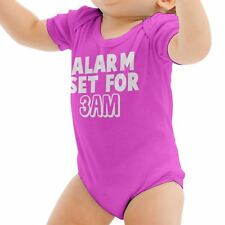 Alarm Set for 3 am Funny Babygrow Sleep Parents Gift Baby Grow Suit New Born B21