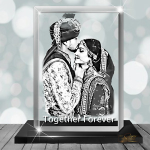 Wedding Gift 3D Photo Crystal Block in Glass Personalised Gift - 8cm X 5cm X 5cm
