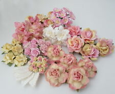 Custom 50 Mixed Size Shape Paper Flowers + 10 Leaves Scrapbook DIY Craft A25-A