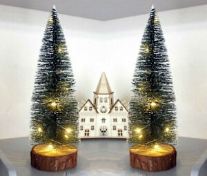 2x Green Pre Lit Snow Tipped Mini Christmas Tree Table Top Battery Operated LED