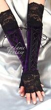 Púrpura Negro Encaje Sin Dedos Guantes Puños De Terciopelo XX Long Arm Warmers Goth