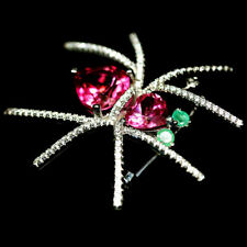 NATURAL AZOTIC PINK MYSTIC TOPAZ, EMERALD & CZ BROOCH 925 STERLING SILVER