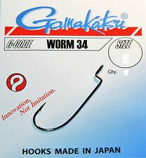 Gamakatsu Worm 34 Offset schwarz Gr.1-5/0 Raubfisch, Drop Shot,Texas Rig, Gummi