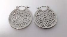 Filigree Hoop Earrings Set With Clear Crystal Stones