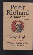 Poor Richard's Almanac Revived 1919 10th Year Wilmer Atkinson Co
