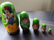 Snow White and the Seven Dwarfs Matryoshka Russian Nesting Wooden Dolls Set 5pc