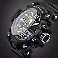 Stainless Steel LED Digital Date Alarm Sports Military Quartz Wrist Watch SS CA#