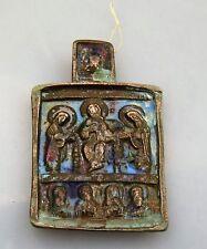 Alte russische Bronze Kupfer Ikone - drei Heilige- 19 Jh -