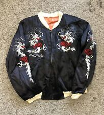 Vintage 70s Made In Korea Dragon Embroidered Hooded Bomber Jacket