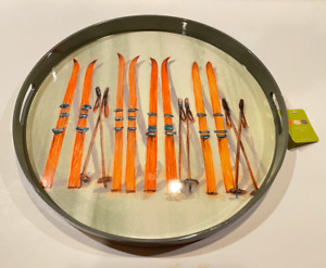 """Rock Flower Paper NWT Mont Blanc Skis Round Serving Tray 18"""""""